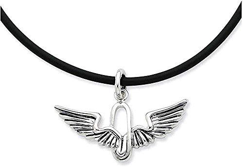 LKLFC Collar Colgante Collar de Cadena Mujer Hombre Collar Collar de Plata esterlina de rodio de Fuerza renovada con cordón de Goma 22-24 (37x25MM) Regalo