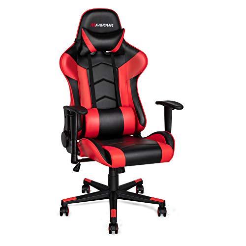 mfavour Sillas Gaming Silla Gamer Ergonomico, Reposabrazos Ajustable, Respaldo Ajustable de 180°, Esponja de Alta Densidad, reposacabezas, cojin en la Cintura