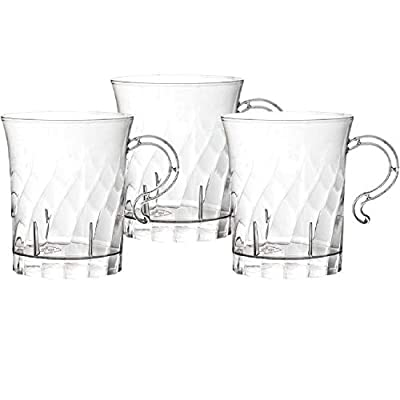 Party Essentials Hard Plastic 8 oz. Swirled Coffee/Tea/ Party Cups With Handle, Clear, 20 Count (N810-2)