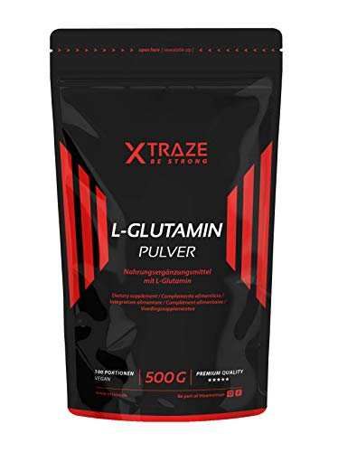L-Glutammina in Polvere 500 g, Insapore ad Alto Dosaggio Vegan, 100% Puro e senza Additivi non Necessari, Made in Germany, Aminoacido per L'allenamento con i Pesi, Bodybuilding, Fitness
