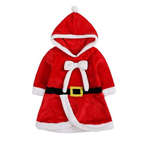 Lee Little Angel Weihnachts-kinderprinzessin Kapuzen Bow Kostüm Kleid (70, Rot)