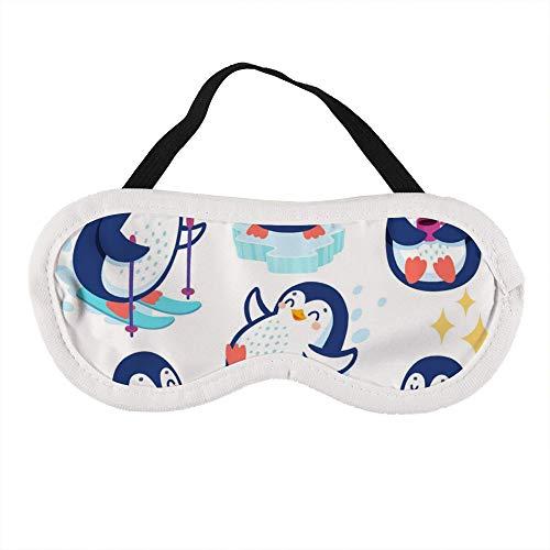 Draagbaar oogmasker voor mannen en vrouwen, schattige pinguïns skiën plezier drinken thee de beste slaap masker voor reizen, dutje, geven u de beste slaap omgeving