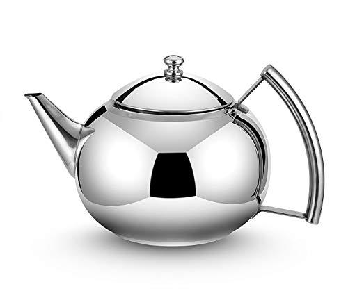 OMGard Teekanne mit Teesieb lose Teeblätter 2 Liter Edelstahl Teekanne Kaffee Wasser Kleine Wasserkocher Filter Set Stövchen Teekessel für Herdplatte Induktion Herd Top 2,1 Quart / 68 Unzen