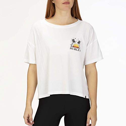 Hurley W Sun Stripes Flouncy Tee Tee-Shirts Femme White FR: XS (Taille Fabricant: XS)
