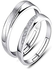 925 Sterling Silver Simple Shining Diamond Adjustable Open Couple Ring Set for Female and Male cr23