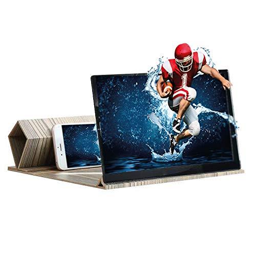 KafooStore - Amplificador de pantalla de 12 pulgadas para teléfono móvil, con lupa ampliadora 3D, pantalla universal, todo smartphone, Ultra HD (roble gris)