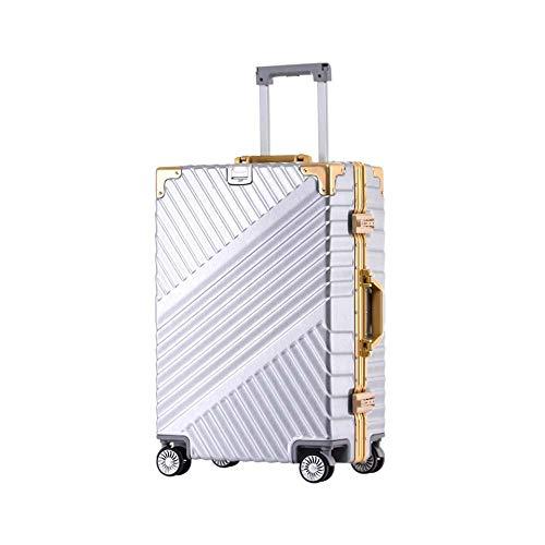 Trolley voor bagage, 20 inch (50,8 cm), aluminium frame, voor heren, gereedschapskist voor veiligheidspakket (kleur: zilver, maat: 55,5 cm)