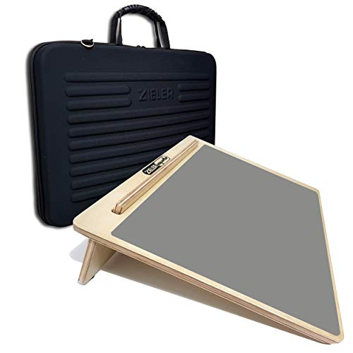 Tappetino ergonomico per scrittura in legno A3 con impugnatura e custodia protettiva leggera - di ZIELER®. Per una migliore postura di scrittura con facilità di archiviazione e portabilità.