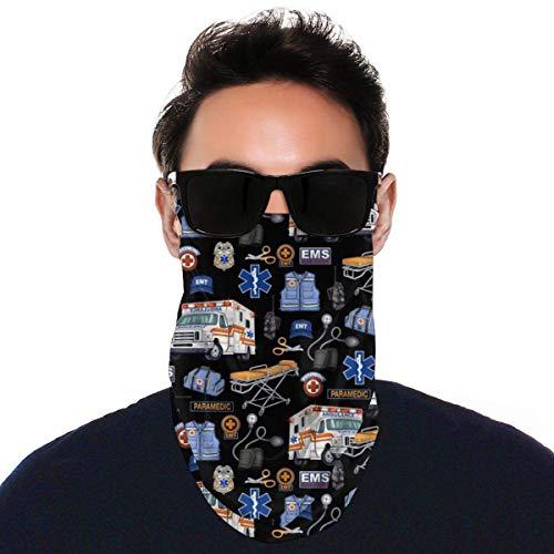 Lsjuee - Bandanas para mascarilla, bufanda para ambulancia loca, pañuelos para el cuello, orejeras, diadema para motociclismo, deportes, al aire libre, color negro