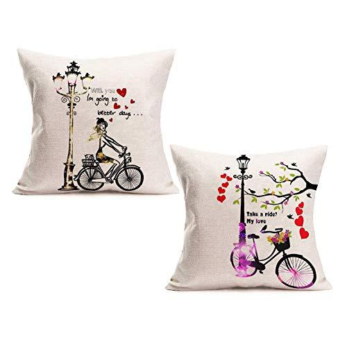 Fundas Almohada del día San Valentín Sweet He Bicycle Love Quote Throw Pillow Cojín Funda cojín 18 'Fundas Almohada Decorativas cuadradas 2Pcs Lover Anniversary