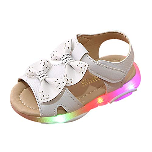 Viviplus Baby Toddler Girls Summer Light Up Walking Sandals Bowknot Led Light Luminous Sport Sandals Flip Shoes for 1-5 Years Old Kid