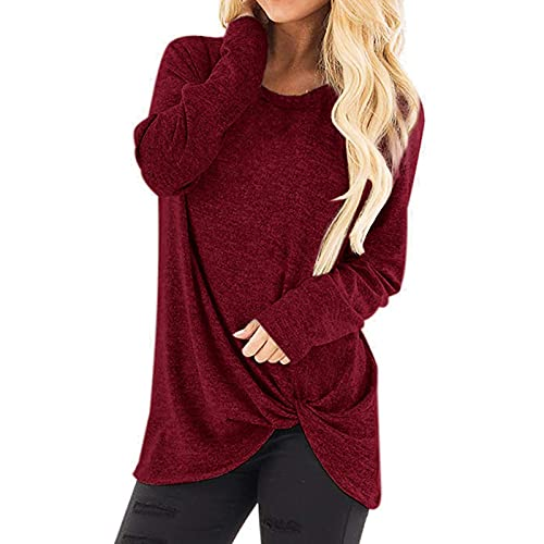 Camiseta básica de manga larga para mujer, cuello redondo, camiseta de manga larga, informal, suelta, blusa, túnica, elegante, para deporte, cuello redondo, jersey de manga larga, Vino, XL