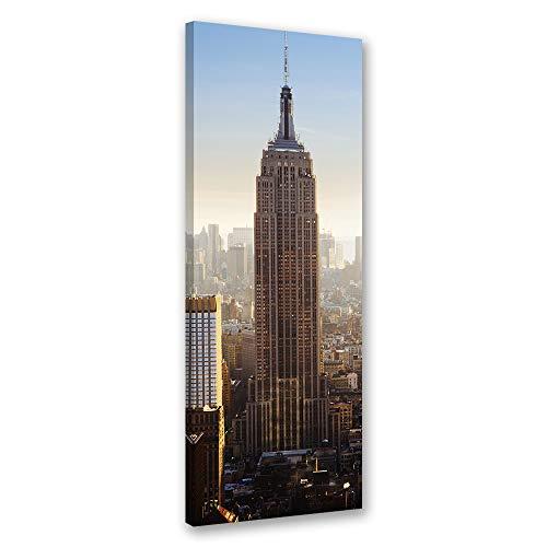 Feeby Bild auf Leinwand Empire State Building Kunstdruck modern Beige 30x90 cm