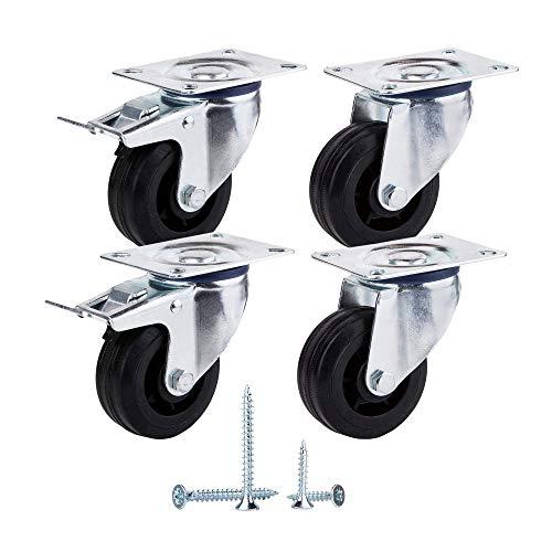 (Paquete de 4 piezas) Ruedas giratorias de goma de movimiento suave de 80 mm Ruedas con placas de metal Ruedas Carro industrial (4, 2 con frenos + 2 sin frenos)
