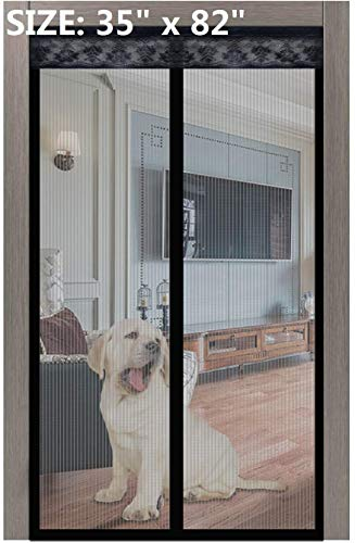 Magnetic Screen Door 2020 New 02 35x82 Inches,Upgrade Screen Doors with Strong Magnet Heavy Duty Mesh Curtain Full Frame Hook&Loop,for Front Door Apartments, Anti Mosquito Bugs,Pet Kid Entry Friendly