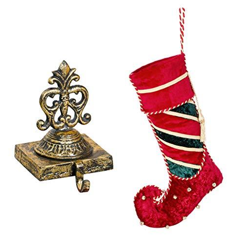 Dibor oro in ghisa per calza e sonagli a righe velluto stivali da elfo calza