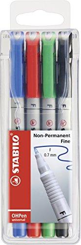 Folienstift - STABILO OHPen universal - wasserlöslich fein - 4er Pack - grün, rot, blau, schwarz