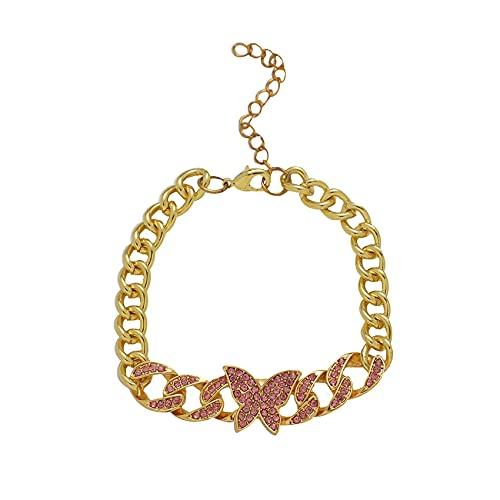 TTTST Chunky Hip Hop Cuban Link Chain Shiny Rhinestone Butterfly Anklet Bracelet for Women Teen Girls