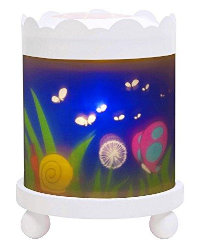 Trousselier - Schmetterling - Nachtlicht - Magisches Karussell - Ideales Geburtsgeschenk - Farbe Holz weiß - animierte Bilder - beruhigendes Licht - 12V 10W Glühbirne inklusive - EU Stecker