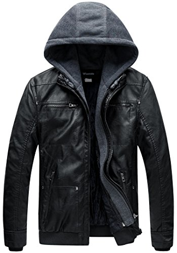 Wantdo Herren Faux Leather Herbstjacke Schwarz X-Large