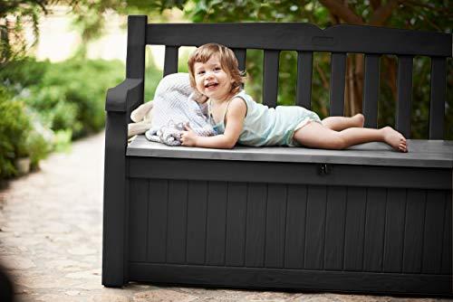 Koll Living Garden Gartenbank mit 265 Liter Stauraum - mit Verschlussmöglichkeit - Moderne Holzoptik aus wetterfestem Polypropylen Kunststoff - Deckel belastbar bis 350 kg (Anthrazit) - 3