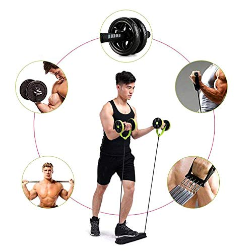 Rishx Double Wheels Roller Bauchtrainer mit Widerstand Band Zugseil, Multifunktions Taille Trimmer Bauch Abnehmen Gym Fit Übung Training Tool