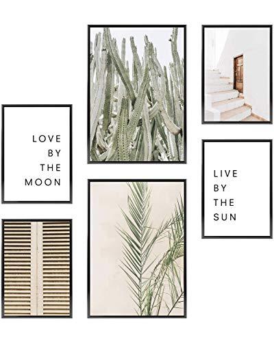 Heimlich® Premium Poster Set | Stilvolles Set mit passenden Bilder als Wohnzimmer Deko | 2 x DIN A3 & 4 x DIN A4 - ca. 30x42 & 21x30 | ohne Bilderrahmen » Sun & Moon «