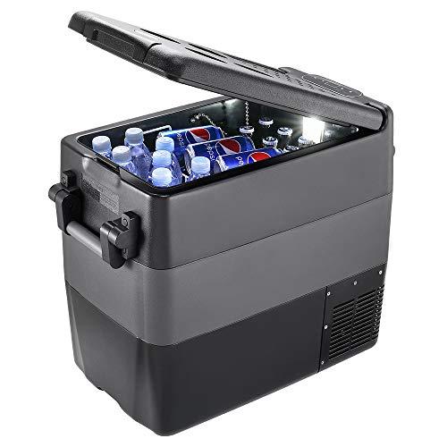 ISSYZONE Nevera Coche Portatil Electrica con Compresor, 50L Congelador Portatil Refrigerador, -20 hasta 10 °C, Conexiones 12/24 V, para Coche Camión Camper Furgoneta Caravana Viaje Casa