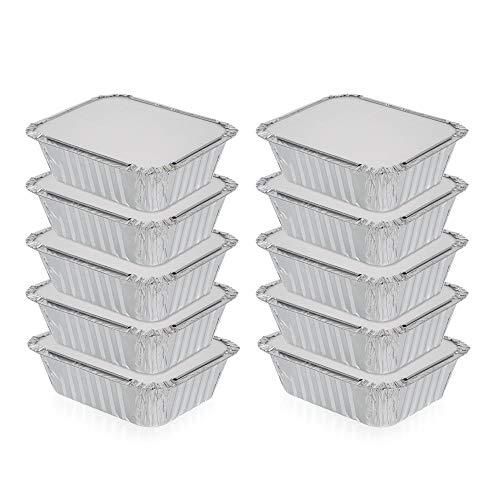 Paquete de 10 sartenes de aluminio con tapas, bandejas de aluminio con tapas, ideales para hornear, cocinar, almacenar y congelar, tamaño de la porción pequeña de 11,4 x 14 cm.