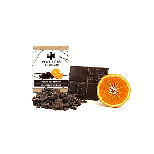Tableta de chocolate negro con naranja 75gr