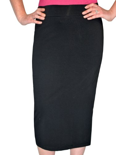 Kosher Casual Women's Modest Midi Lightweight Cotton Lycra Tapered Pencil Skirt Large Black