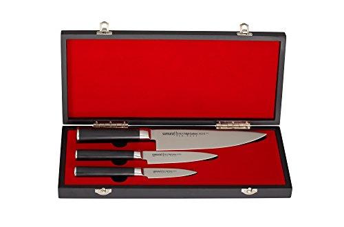 Samura MO-V Messer Geschenk Set in Holz Geschenkbox ultra-scharf, aus japanisch AUS 8 Edelstahl, 18 cm Klinge, mit G10 Handgriff aus Carbon
