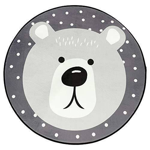 BOI - Tappeto da gioco per bambini, rotondo, 100 cm, antiscivolo, per la casa, per la cameretta dei bambini, fibra di poliestere., Orsetto grande., 100 x 100 cm