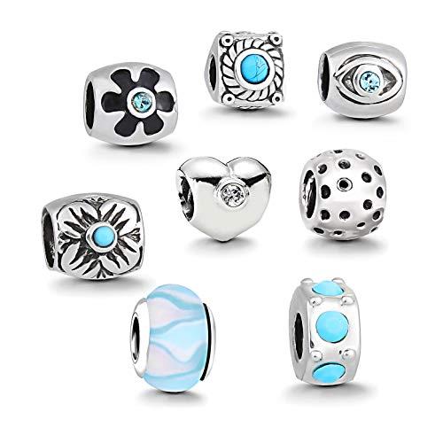 Charms Silber - 8 Anhänger Starter Set Angebot - Damen Schmuck bettelarmband Pandora Style Kompatibel Charm Beads Bead Alle größe Tiere Herz Liebe Türkis