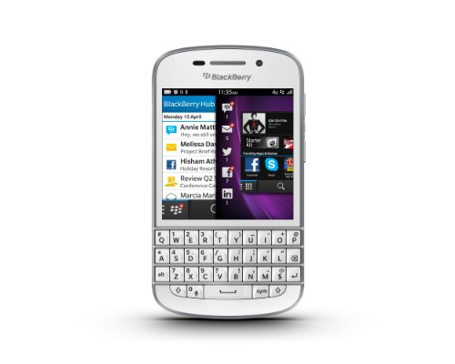 Blackberry Q10 Smartphone, schermo amoled 3,1 , Cortex-A9 Dual-Core, 1,5GHz, 2GB RAM, 16GB, fotocamera 8 Megapixel, tastiera QWERTY, Bianco