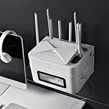 Wei Hongyu Artículos para el hogar Estante de la Pared Libre de perforación de TV Top Box Rack Router WiFi Caja de Almacenamiento (Color : Blanco)