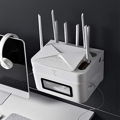 林ウォールシェルフ無料パンチングテレビトップボックスラックWIFIルーター収納ボックス(グレー) WXW (Color : White)