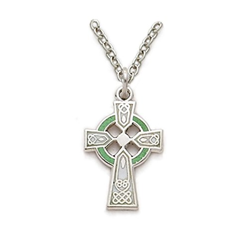 TrueFaithJewelry Sterling Silver Engraved Celtic Cross Pendant with Green Enamel, 5/8 Inch