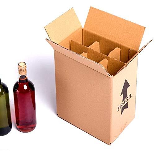 15x) Caja para botellas de vino CON separadores de cartón rejilla | TELECAJAS (Para 6 botellas) (PACK DE 15 UNIDADES ...