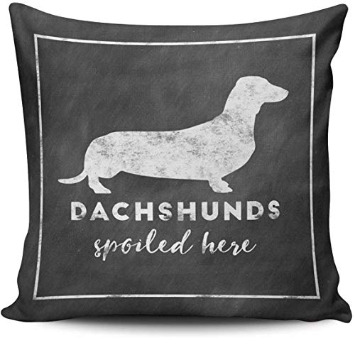 BONRI White Dachshunds Spoiled Here Vintage Chalkboard Pillowcase Home Decorative 18x18 Inch Square Throw Pillow Case Cushion Covers Double Sided Printed
