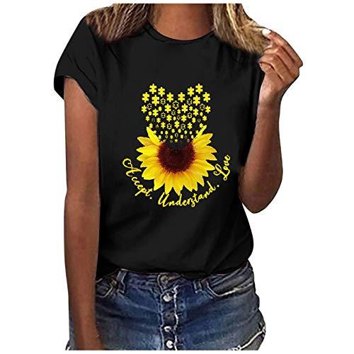 Linda camiseta corta con estampado de patrón para mujer, tallas grandes, camisetas informales (girasol, mariposa, diente de león)