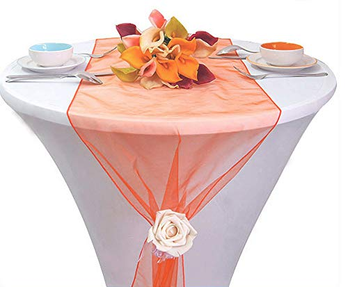 MDS Pack Of 10 Wedding 12 x 108 inch Organza Table Runner For Wedding Banquet Decor table Runner- coral