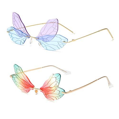 Grainas 2 paquetes de gafas de sol de libélula sin montura de mariposa gafas de sol de marco de metal UV400 (azul púrpura + rojo verde gradiente)