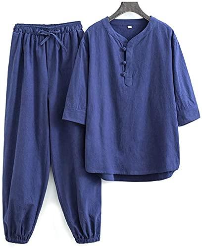 DIVAND Abbigliamento Donna Kung Fu Camicia Cappotto Abito Arti Marziali, Uniforme da Meditazione Zen Cotone Lino Uniforme Tai Chi Manica Corta Abbigliamento Tradizionale Cinese Top Pantaloni,Blu,3XL