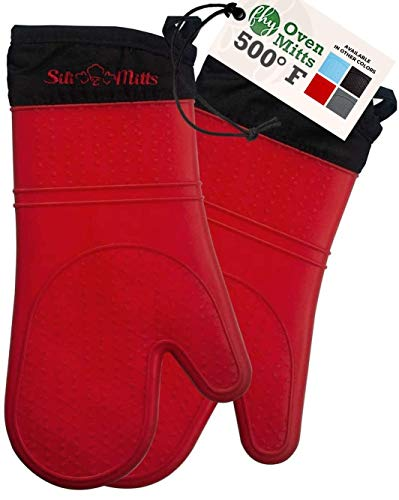 Silicone Oven Mitts Heat Resistant 500 Degrees - 2 Extra Long Silicone Oven Mitt Pot Holders - Food Safe Oven Gloves - BPA Free - Soft Inner Lining - (Red) - Frux Home and Yard