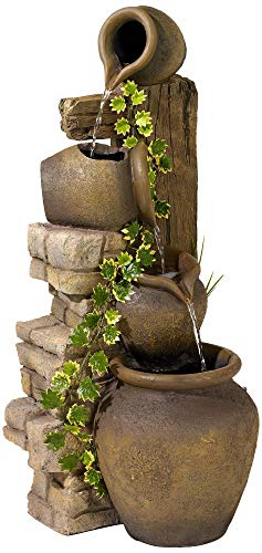 John Timberland Rustic Floor Water Fountain Three Jugs Cascading 33' High Indoor Outdoor for Yard Garden Lawn