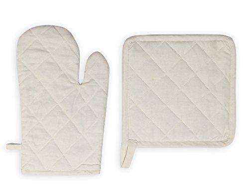 Soleil d'ocre Handschuh und Topflappen Baumwolle Panama Ecru