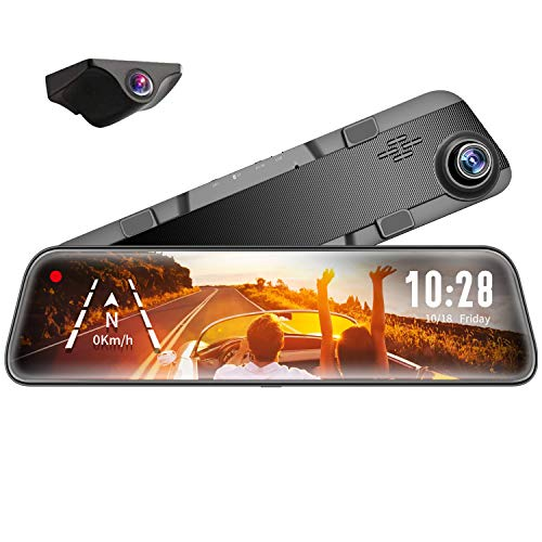 "WOLFBOX 12"" Mirror Dash Cam Backup Camera,1296P Full HD Smart Rearview Mirror for Cars & Trucks, Sony IMX335 Front and Rear View Dual Lens, Night Vision, LDWS, Parking Assistance, Free 32GB Card & GPS"