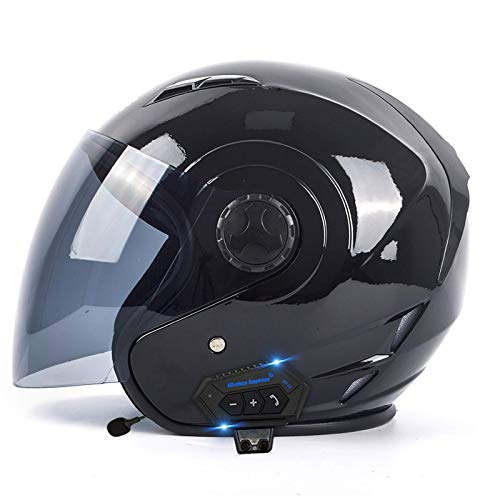 NZGMA Bluetooth 3/4 Cascos Abiertos de Motocicleta Medio Casco de Motocicleta, Casco Facial para Adultos con Visera Solar Cascos de Scooter de Crucero Touring Casco Mediano Casco Jet Aprobado po