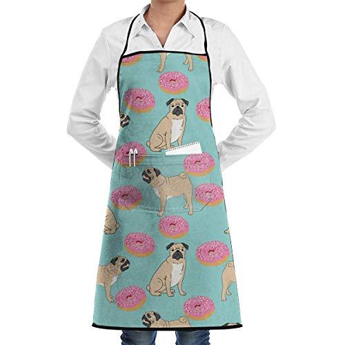 baowen Pug Donuts Divertido Delantal para Hornear Novedad Cocina Chef Regalo para Hombres - Mujeres Regalo para Hornear BBQ Delantal de Cocina